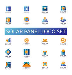 Solar panel energy logo set business green energy vector
