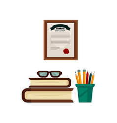 stationery books pile and diploma from study room vector image