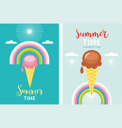 summer time banners concept ice cream vector image
