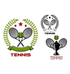 Tennis tournament emblems with sport items vector image