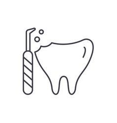 treatment of caries line icon concept treatment vector image