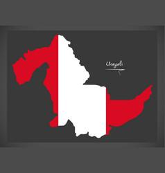Ucayali map with peruvian national flag vector