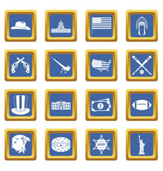 usa icons set blue vector image