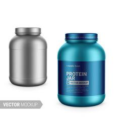 White metallic plastic protein jar mockup vector