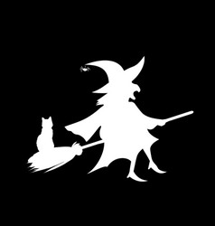 White silhouette of witch flying on broom with vector
