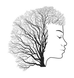 Woman portrait with double exposure face and tree vector