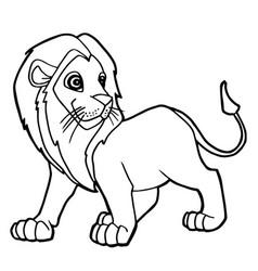 cartoon cute lion coloring page vector image vector image