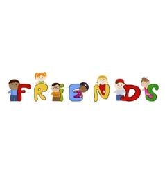 Children friends muliracial friendship vector