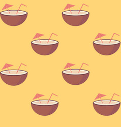 coconut fruit with straw and umbrella seamless vector image vector image