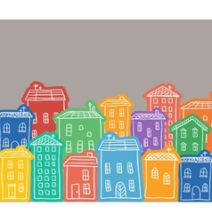 Houses colored doodles vector image