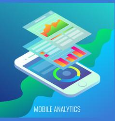 mobile analytics concept flat isometric vector image