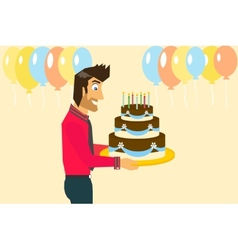 Smiling man is celebrating birthday vector image vector image
