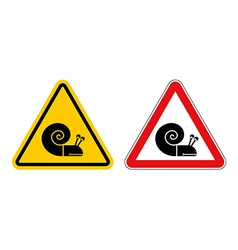 Snail warning sign of attention slow motion on vector