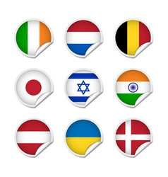 Flag stickers set 2 vector image vector image