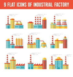 Industrial factory buildings flat icons vector image