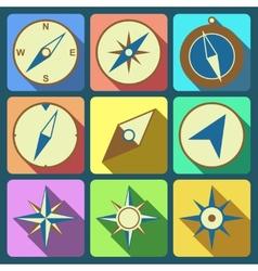 Navigation compass flat icons set vector