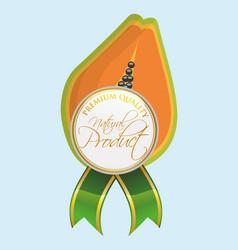 papaya natural product label quality vector image