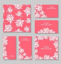 rose flower pink set vector image vector image