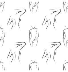 Seamless pattern with nude woman silhouettes vector image