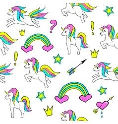 Seamless pattern with unicorns rainbow heart vector