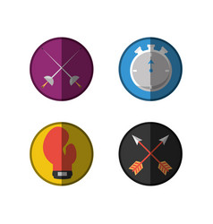 set flat icon tools sport vector image