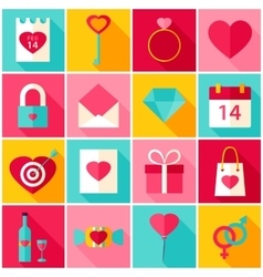 Valentine Day Love Colorful Icons vector image