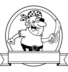Cartoon pirate with a banne vector