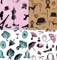 Four seamless pattern with retro theme vector image