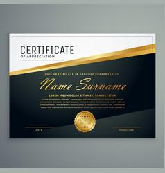 premium certificate design with golden stripe vector image