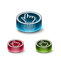 3d glossy web download icon vector image