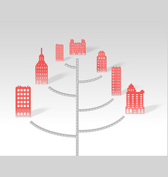 a 3d paper city skyline road vector image vector image