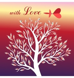 Card with tree and bird in love vector image vector image