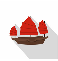 Chinese boat with red sails icon flat style vector