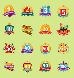 happy birthday anniversary numbers badge vector image
