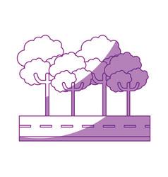 isolated tree on highway cartoon vector image vector image