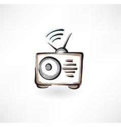 radio grunge icon vector image