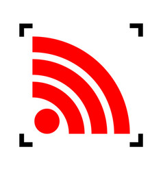 rss sign red icon inside vector image