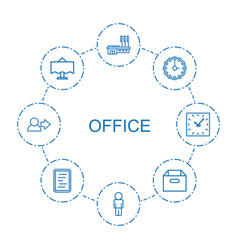 8 office icons vector