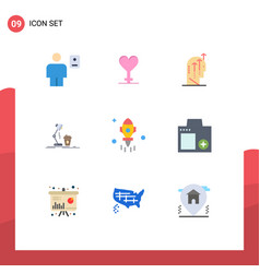 9 thematic flat colors and editable symbols of vector image