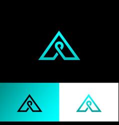 a letter monogram green line vector image