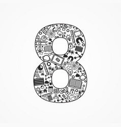 a set technology icons shaped as eight number vector image