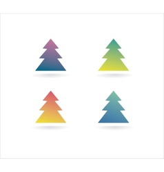 Abstract xmas tree icon set concept Logotype vector image
