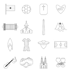 Argentina outline icons vector image