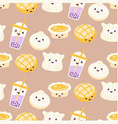 Asian street food cartoon pattern with egg vector