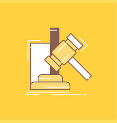 auction gavel hammer judgement law flat line vector image