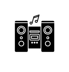audio system black icon sign on isolated vector image