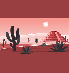 Aztec altar pyramid in wild landscape in mexico vector