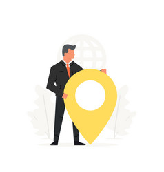 Businessman holding a big map pointer concept vector