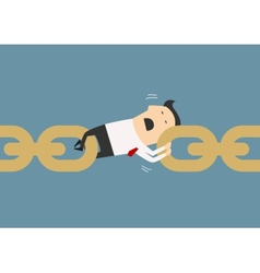 Businessman holding chain together as a link vector