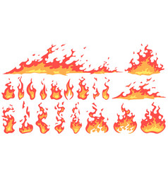cartoon fire flames fireball flame red hot fire vector image